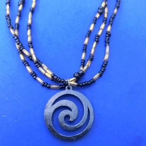 Black and Gold Swirl Pendant Necklace
